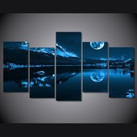 5 Panel Snowy night moon with mountains wall art canvas panel picture print
