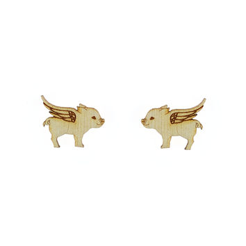 Flying Pig Earrings in Birch Wood