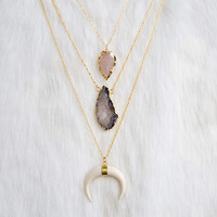 Agate Crystal Necklace » Crystal Geode Druzy Necklace » Natural Stone Jewelry » Crystal Pendant » Layered Layering Necklaces » Boho