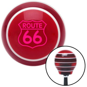 Pink Route 66 Sign Red Stripe Shift Knob with M16 x 15 Insert