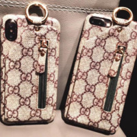 Gucci Iphone 7plus mobile phone shell 8plus apple X card package 6S zero wallet 6plus men and women