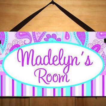 Kids Door Sign Purple Paisley Girls Bedroom Personalized Name Sign DS0092