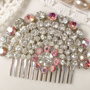 Vintage Art Deco Blush Pink & Clear Rhinestone Bridal Hair Comb, Crystal Fan Brooch to 1920s Hair Piece, Flapper Wedding Hair Accessory