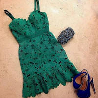 Green Floral Lace Mini Dress