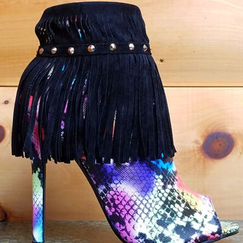 Stunning Rainbow Snake Body Black Fringe Cuff Stiletto Heel Ankle Boot