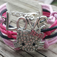 Hello Kitty Bracelet - Infinity Bracelet - Love Bracelet - Silver Charm Bracelet - Hello Kitty Jewelry