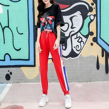 """Adidas"" Women Casual Retro Personality Letter Character Print Short Sleeve T-shirt Multicolor Stripe Trousers Set Two-Piece Sportswear"