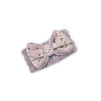 """Women's Cosmetic Headband, Lavender with """"Flower"""" print Gingham Style Bow, by MinxNY"""