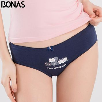 BONAS Stripe Printed Low Waist Briefs Women Modal Cotton Cat Print Animal Style Female Seamless Underwear Elasticity Spandex