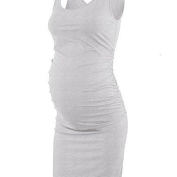 Liu amp Qu Womens Maternity Sleeveless Tank Dresses Mama Scoop Neck Baby Shower Vestido