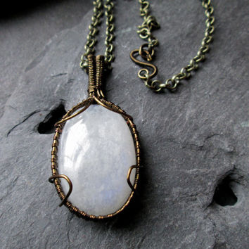 Moonstone Necklace - Wire Wrap Brass on White Moonstone - Intricate Details - Rustic Romantic Necklace - Handmade in UK - Bohemian Female