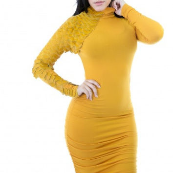 #Mustard Scales Sleeve Dress