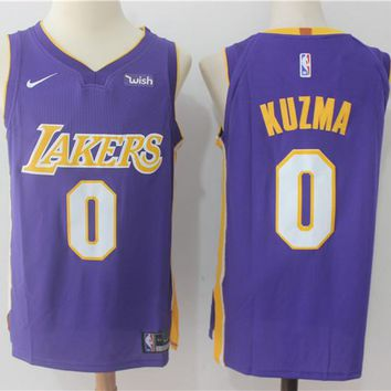 Best Deal Online NBA Authentic Basketball Player Jerseys Los Angeles Lakers # 0 Kyle Kuzma Purple