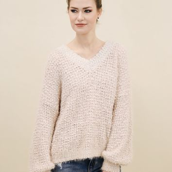 Fuzzy Popcorn V Neck Sweater