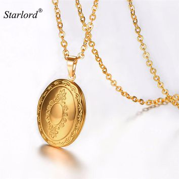 Starlord Memory Locket Pendants Vintage Photo Gold/Silver Color Necklace Charms Jewelry Locket Pendant Necklace P193