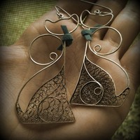 Silver filigree cats earrings
