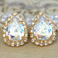 White Patina Crystal Stud Earrings,Swarovski Crystal Studs,Teardrop Shabby Chic Patina Swarovski Earrings,Bridal Vintage Style Earrings