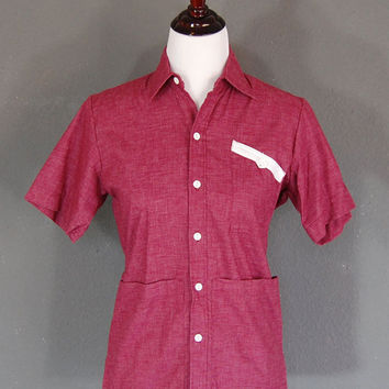Vintage Smock Top / Uniform Shirt / Maroon Purple / Size Medium / 1980's