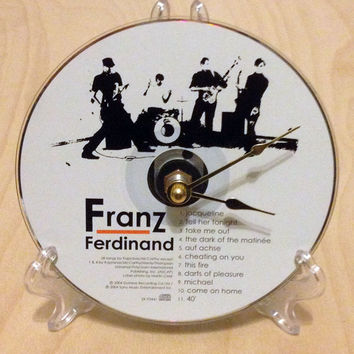 CD Clock, Desk Clock, Wall Clock, Fran Ferdinand, Recycled Music Compact Disc, Upcycle, Battery, Wall Hanger & Stand ALL INCLUDED