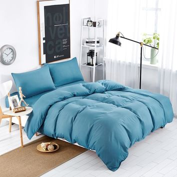 solid bedding set 100% polyester bed clothing linen solid duvet cover 1.8m 1.5m 2.0m bedspreads bedsheet queen king size