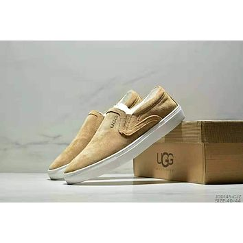 UGG Slip-On Trending Women Men Stylish Comfortable Flats Sneakers Sport Shoes Brown