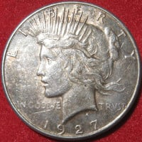 1927 S USA Peace Liberty Head Silver One Dollar Collectible Coin San Francisco Mint Key Date Silver Coin, Free  S/H in U.S.A.