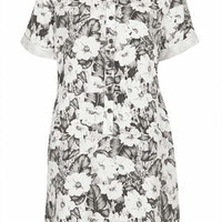 Aloha Print Shirt Dress - Monochrome
