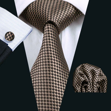 Men Tie Brown Geometric Silk Classic Gravata Tie+Hanky+Cufflinks Set For Men Formal Wedding Party