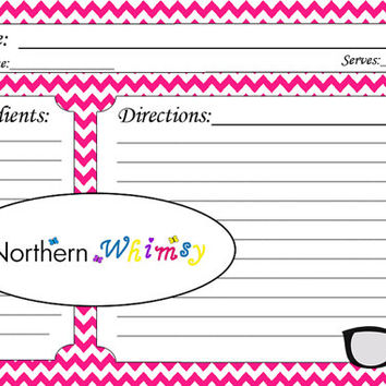4x6 Printable Glasses Recipe Card Set – hot pink hipster eyeglass graphic on a bright pink chevron background – INSTANT DOWNLOAD