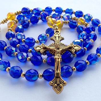 Handmade Rosary, Cobalt Blue Beads, Catholic Rosary, Miraculous Medal, Blue Rosary, Catholic Gift, Blue Prayer Beads