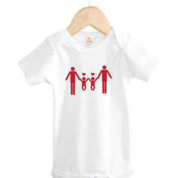 Equality Baby Onesuit for Fathers // Two Daddies with Twins Onesuit // gay pride // surrogacy