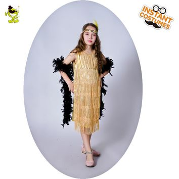 QLQ Girls Flapper Costume Masquerade Halloween Party Cosplay Costume Gold Color Kids Flapper Dress Fancy Dress Up For Girls