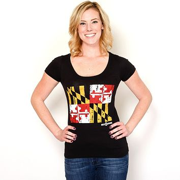 Maryland Flag (Black) / Ladies Scoop Neck Shirt