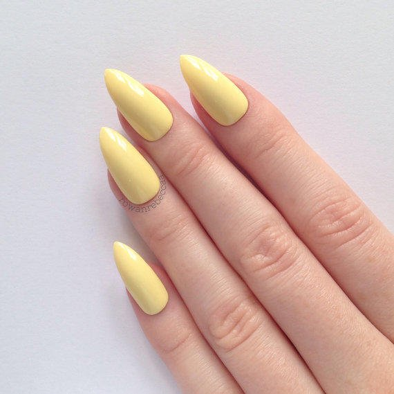 Pastel Yellow Stiletto Nails, Nail From Prettylittlepolish On