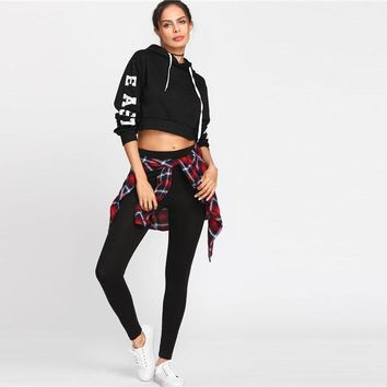Woman New Arrival Colorblock Bottoms Black Stretchy Casual Leggings