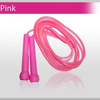 4Fit Plastic Skipping Rope PVC Speed Jump Rope Fitness Exercise Workout Jumping (Pink)