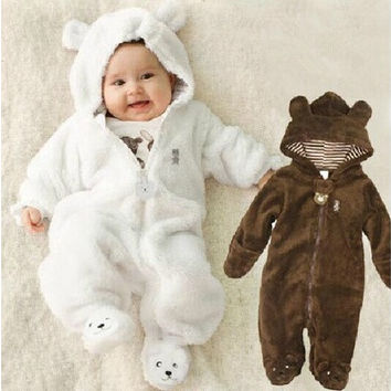 Bear Style Baby Coral Fleece Long Sleeve Hooded Romper, Baby Girls Boys Romper Autumn&winter Newborn Toddle Clothing--SS [8833423436]