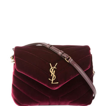 Saint Laurent Loulou Toy Quilted Velvet Shoulder Bag