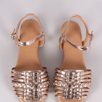 Qupid Mirror Metallic Woven Ankle Strap Flat Sandal