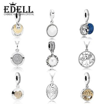 EDELL 925 Sterling Silver European Family Tree Crystal Pearl Charms Beads Fit Original Bracelet Genuine Pendant Jewelry Gift