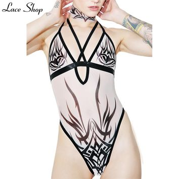 laceshop 2017 Sexy Tattoo Printed Women Bodysuits Hollow Out Halter Lace Up Cross Straps Front Semi Sheer Female Bodysuits
