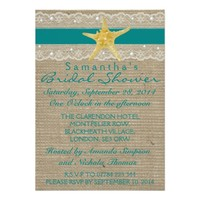 TEAL LACE AND PEARL BURLAP BEACH BRIDAL SHOWER CARDS