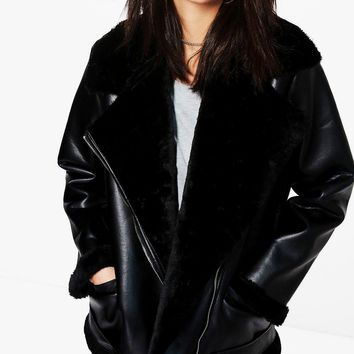 Isabella Boutique Faux Fur Lined Aviator | Boohoo