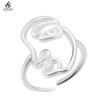 Oly2u  Wire Geometric Double Broken Heart Face Ring Women Friend Best Gifts Punk Cool Finger Rings Jewelry aneis feminino