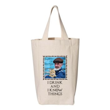 I Drink and I Know Things Photo Wine Tote - Two Bottle Wine Tote
