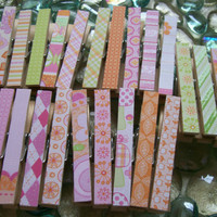 Decorative Decoupaged Clothespins Paper Both Sides SET OF 24 Baby Girl Mix
