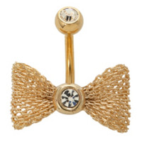 "14G 7/16"" Steel Gold Tone Mesh Bow Navel Barbell"