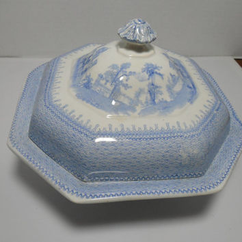 RARE Antique Covered Serving Dish, TJ & J. Mayer Baronial Halls Antique Footed Serving Dish and Cover,Gingerslittlegems