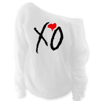 XO with Red Heart The Weeknd Clothing Off-The-Shoulder Wideneck Slouchy Sweatshirt