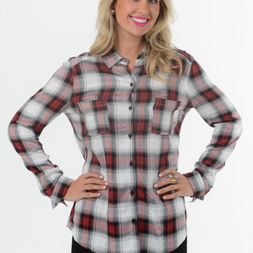 Jack By BB Dakota Plaid Shirt - Red/Black/White